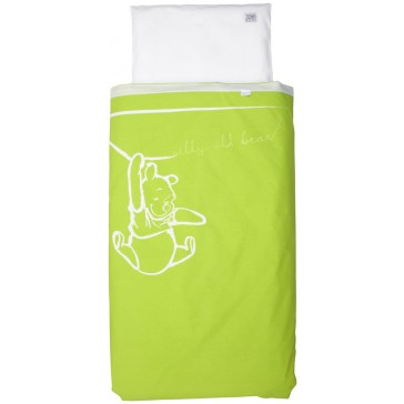 Dekenhoes wieg Silly Pooh lime - Anel