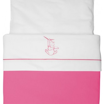 Wieglaken Silly Pooh pink met borduur - Anel