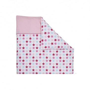 Dekenhoes wieg Mixed Stars Pink – Little Dutch