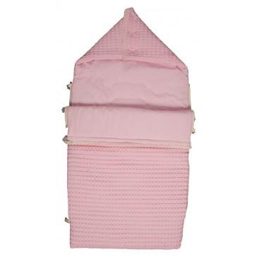 Voetenzak Wafel met flanel Antwerp Baby Pink - Koeka