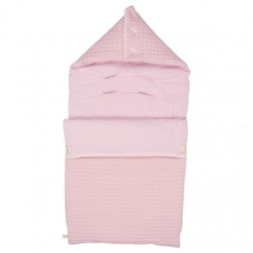 Voetenzak Wafel met flanel Antwerp Old Baby Pink - Koeka