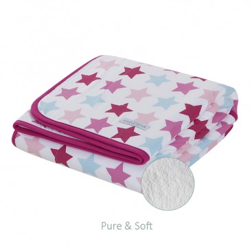 Ledikantdeken Pure&Soft Mixed Stars Pink - Little Dutch