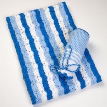 Wiegdeken handgemaakt blauw / wit - Handmade by