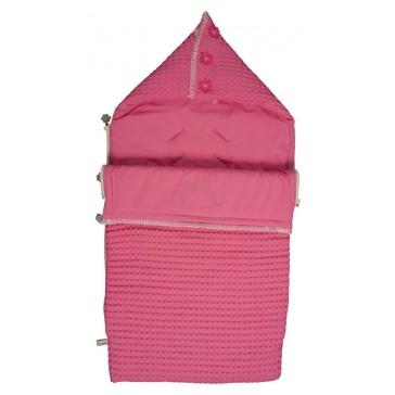 Voetenzak Wafel met flanel Antwerp Hot Pink - Koeka