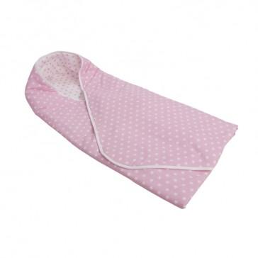 Omslagdoek Roze met witte ster & wit met roze ster - Little Dutch