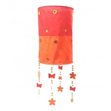 Hanglamp Rood / Oranje met vlinders en bloemen - Trä