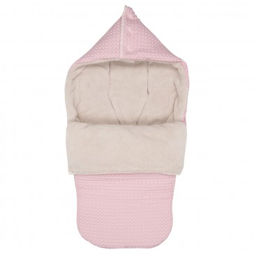 Buggy voetenzak Wafel met teddy Oslo Old Baby Pink / Pebble - Koeka