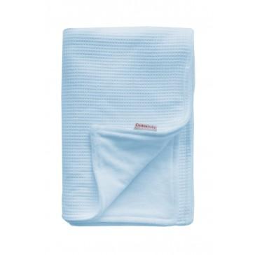 Ledikantdeken Wafel / Velours Lichtblauw - Cottonbaby