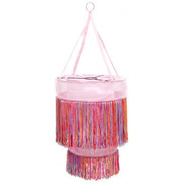 Roze hanglamp met vrolijk gekleurde sliertjes - global affairs