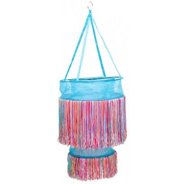 Turqoise hanglamp met vrolijk gekleurde sliertjes - global affairs