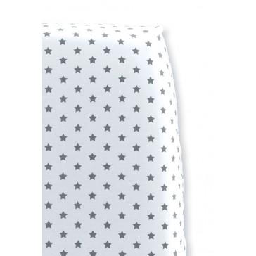 Hoeslaken Sterretjes Wit met Grijs voor wiegmatras - Cottonbaby
