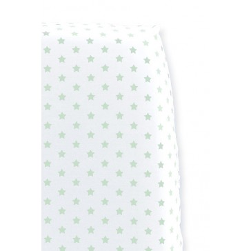 Hoeslaken Sterretjes Wit met Mint voor wiegmatras - Cottonbaby