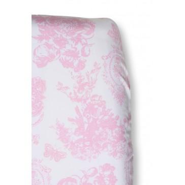 Hoeslaken Toile de joey Roze vlinder voor ledikantmatras - Cottonbaby