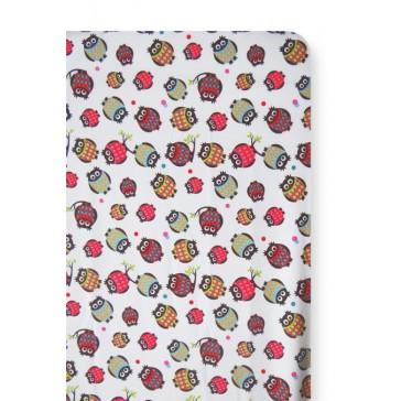 Hoeslaken Uiltjes Multicolor voor wiegmatras - Cottonbaby