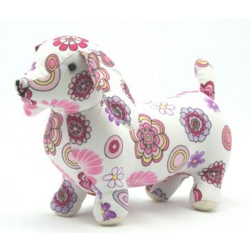 Knuffel Hond - Wit met bloemen - Pakhuis Oost