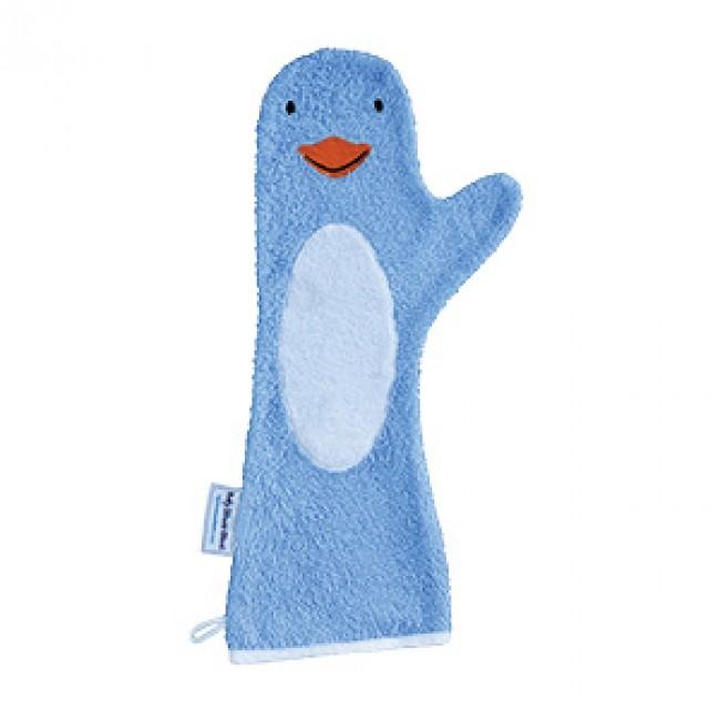 Baby shower glove douche handschoen blauwe pinguin invented4kids babywinkel yurada - Baby douche ...