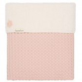 Ledikantdeken Wafel met teddy Oslo Shadow Pink / Light Shadow Pink - Koeka