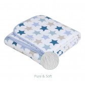 Ledikantdeken Pure&Soft Mixed Stars Mint - Little Dutch