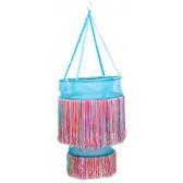 Turquoise hanglamp met vrolijk gekleurde sliertjes - global affairs