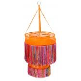 Oranje hanglamp met vrolijk gekleurde sliertjes - global affairs