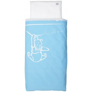 Dekenhoes wieg Silly Pooh blue - Anel