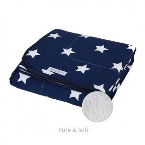 Ledikantdeken Pure&Soft Blauw met grote witte ster - Little Dutch