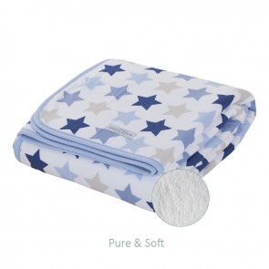 Ledikantdeken Pure&Soft Mixed Stars Blue - Little Dutch