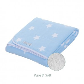 Ledikantdeken Pure&Soft Lichtblauw met witte ster - Little Dutch