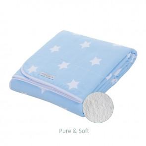 Wiegdeken Pure&Soft Lichtblauw met witte ster - Little Dutch