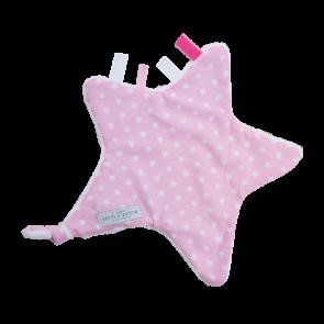 Knuffeldoekje ster Roze witte ster - Little Dutch