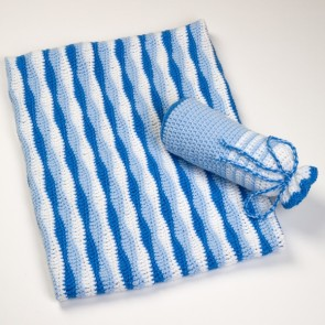 Wiegdeken handgemaakt blauw / wit golf - Handmade by