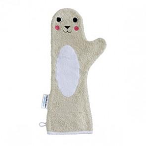 Baby shower glove douche handschoen beige zeehond - invented4kids