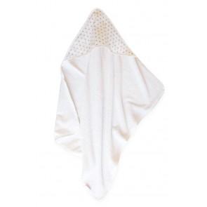 Badcape Sterretjes Wit met Grijs - Cottonbaby