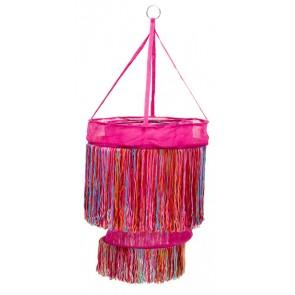 Fuchsia hanglamp met vrolijk gekleurde sliertjes - global affairs