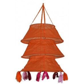 Oranje hanglamp met franjes - global affairs