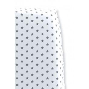 Hoeslaken Sterretjes Wit met Grijs voor ledikantmatras - Cottonbaby