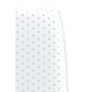 Hoeslaken Sterretjes Wit met mint voor ledikantmatras - Cottonbaby