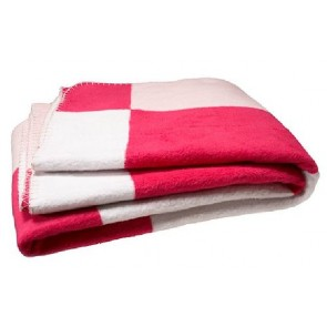 Wiegdeken katoen blok roze / fuchsia / wit gefestonneerd - Jollein