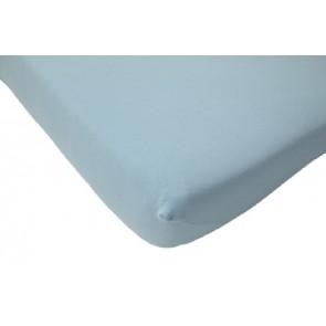 Hoeslaken ledikant katoen ecru 60 x 120 lichtblauw - Jollein