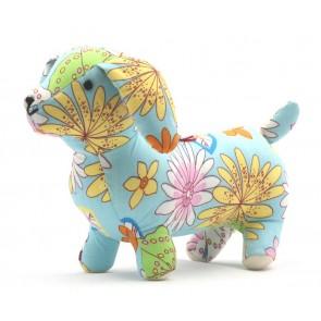 Knuffel Hond - Blauw met bloemen - Pakhuis Oost