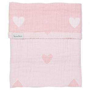 Wiegdeken Altea Hearts Blush Pink / White - Koeka