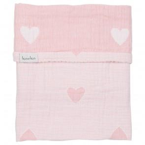 Wiegdeken Altea Hearts Blush Pink / White - Koeka